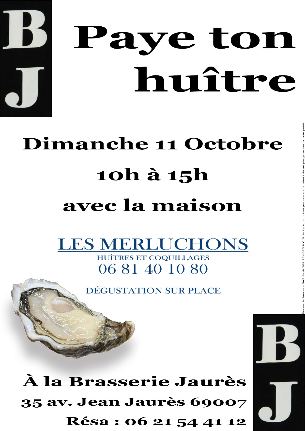 Brasserie Jaurès Paye ton huître
