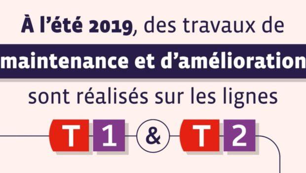Travaux sur les lignes T1 et T2 du tramway de Lyon